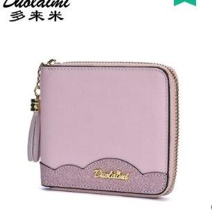 Bolso corto de cuero de lolita dulce princesa para mujer versión coreana billetera pequeña plegable Linda borla mini estudiantes DML113