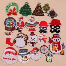 12 pcs/lot série de noël patchs fer sur tissu autocollants bricolage badges brodés père noël arbre de noël patchs pour vêtements