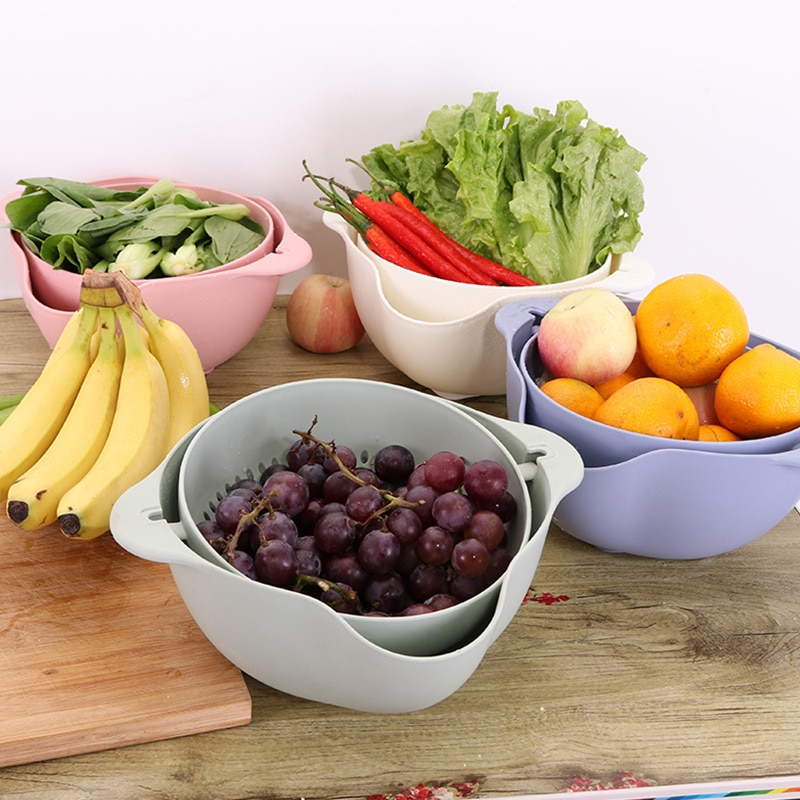 】High Quality Double Kitchen Fashion Basket Drain Basin Kitchen Washers Slicer Pasta Vegetables Fruit Kitchen Accessories Gift