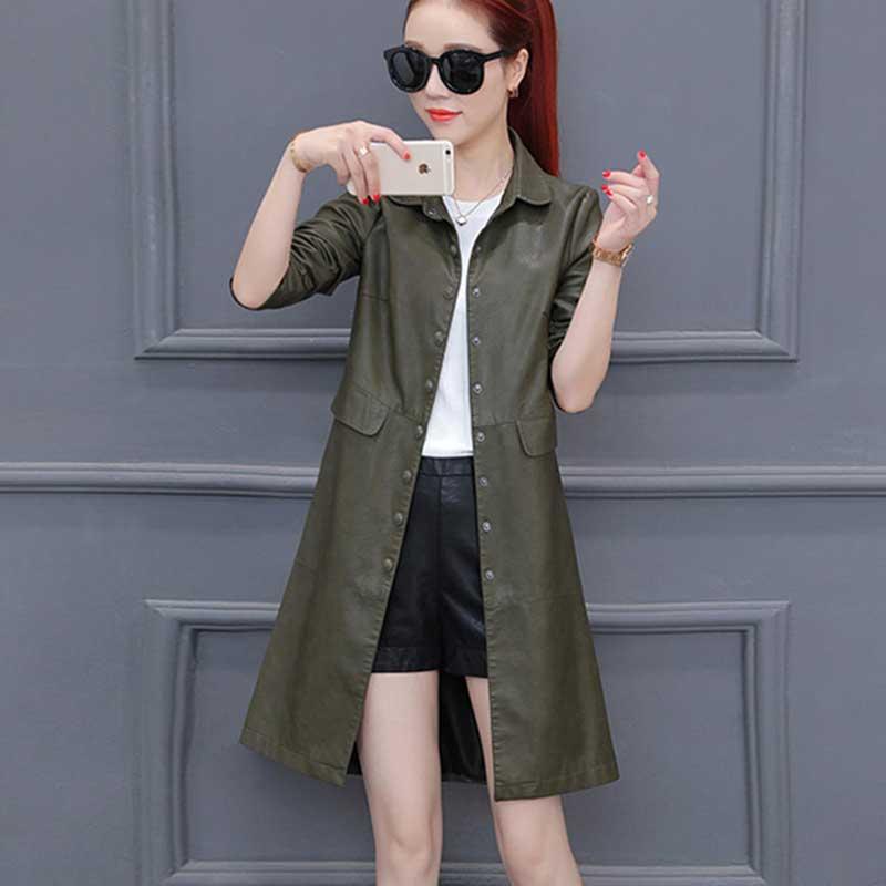 Thick warm autumn long black leather jacket women 2018 new lapel Slim PU leather windbreaker Parka chamarras de mujer WZ791 enlarge