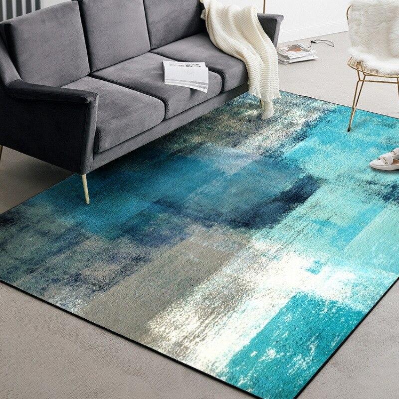 Moderna alfombra de arte abstracto para puerta, color azul, amarillo, gris, blanco, para dormitorio, sala de estar alfombrilla para, alfombra personalizada de terciopelo
