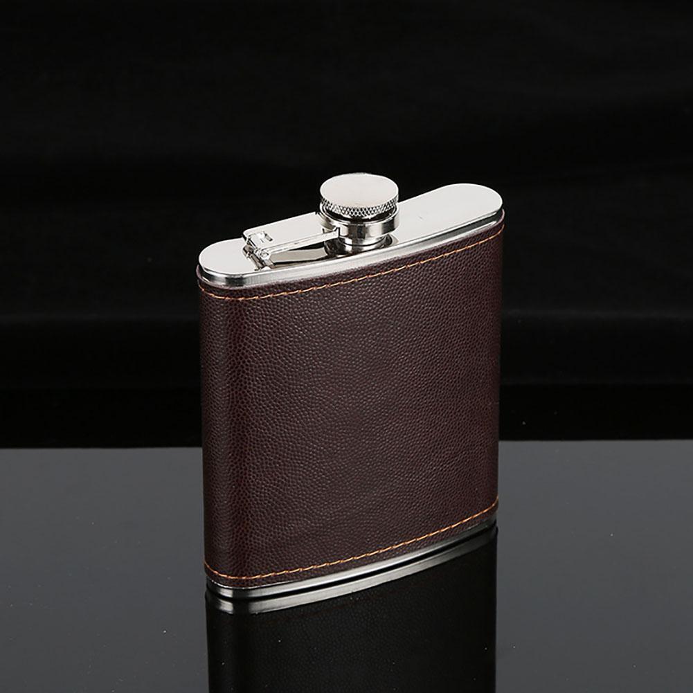Moda novedosa frasco de cuero sintético envuelto en acero inoxidable para vodka whiskey alcohol 5-9 oz/146,5-263,7 ml