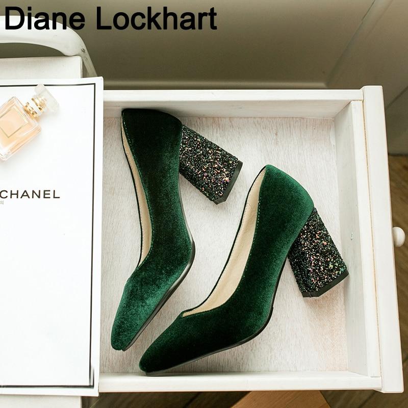 Big Size Women Pumps Velvet High Heels Ladies Shoes Elegant Pointed Toe Wedding Female Shallow Shoes Green Autumn 32 41 42