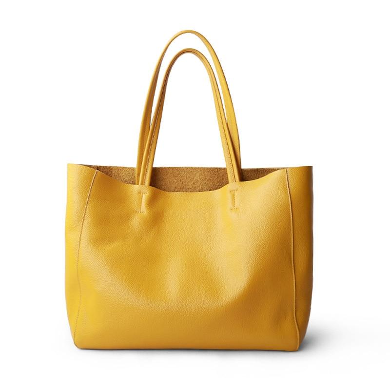 Women Luxury Bag Casual Tote Female Lemon Yellow Fashion Shoulder Handbag Lady Cowhide Genuine Leather Shoulder Shopping Bag