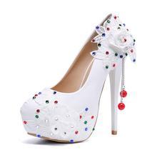 Women Shoes Wedding Bridal Platform High Heel Ivory White Crystal Peep toe Bride Bridesmaid ladies Prom Pumps