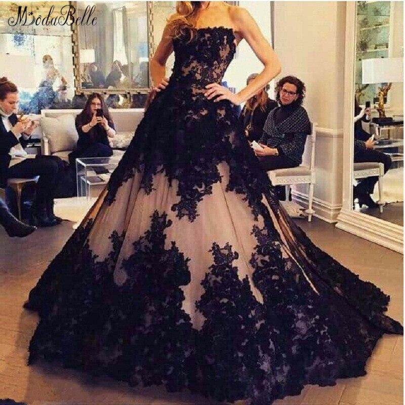 Vestido De Noche negro gótico modabelle Vestidos Largos sin tirantes acampanados encaje clásico Vintage vestido De Noche Trajes De Noche