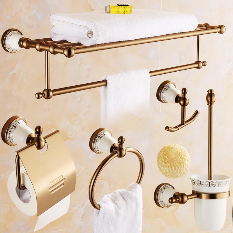 Antique Porcelain Brass Solid Bathroom Aluminum Towel Rack/ Soap Dish/ Tumblers/ Toilet Paper Holder/ Robe Hook