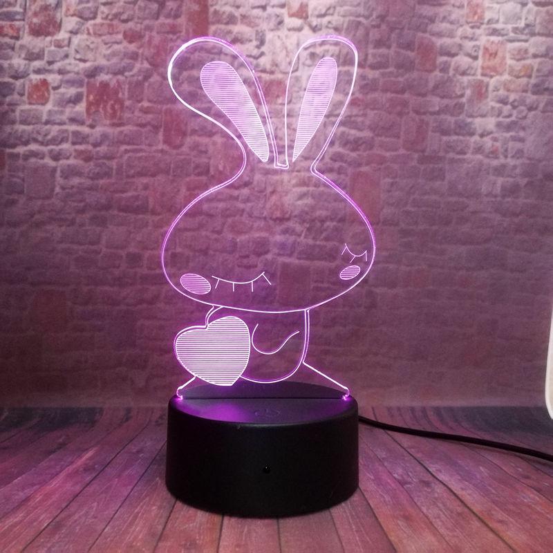 Iluminación nocturna 3D, iluminación colorida, conejo brillante, juguetes iluminados, proveedor de fiesta
