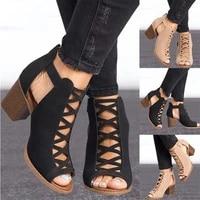 2019 sandals women summer shoes exposed toe high heeled platform sandals gladiator ladies sandals