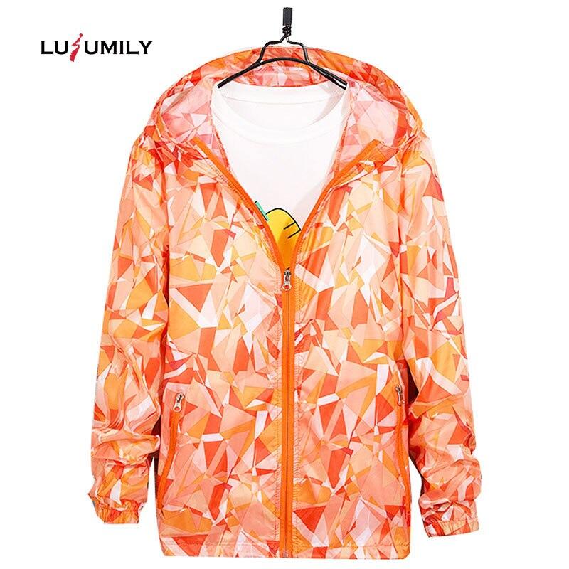Женская спортивная куртка Lusumily, Ультралегкая дышащая ветровка с солнцезащитным принтом, куртка с капюшоном, 4XL, размера плюс