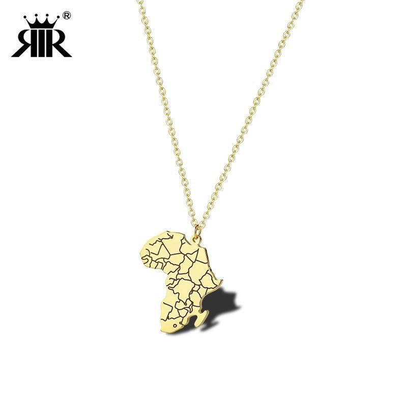 RIR color dorado de África mapa colgante con diseño de bandera cadena patrón africano mapas joyería con banderas del país Hip Hop joyería egipcia africana