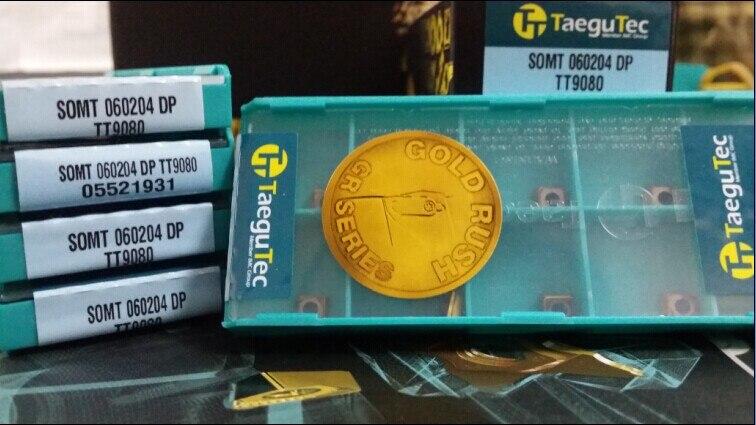 Taegutec SOMT060204DP TT9080 مخرطة تحول أداة كربيد إدراج SOMT 060204 موانئ دبي TT9080 ل الفولاذ المقاوم للصدأ عالية-درجة الحرارة سبائك