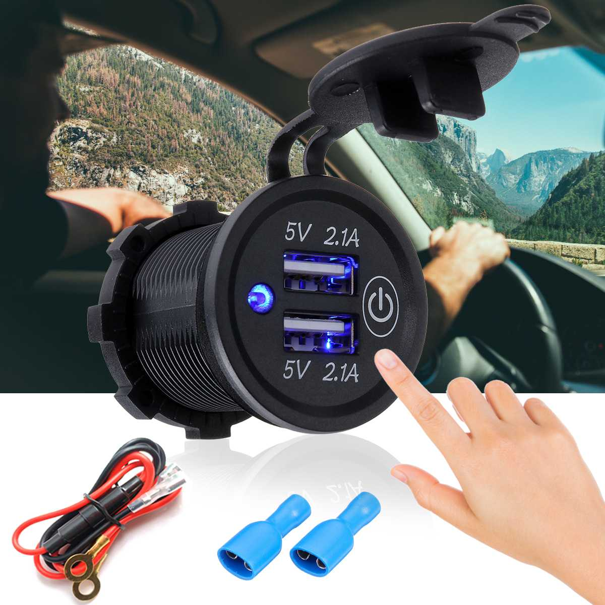Puerto USB Dual para encendedor de cigarrillos, divisor de enchufe DC 12-24V 4.2A, cargador de coche, encendedor de cigarrillos, adaptador de corriente con luz LED
