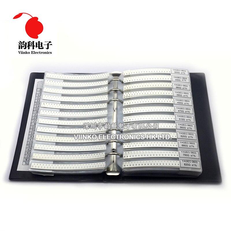 0603 SMD образец резистора Book 1% 1/10W 0R-10M 170valuesx50 шт. = 8500 шт. комплект резисторов 0R ~ 10M 0R 1R-10M