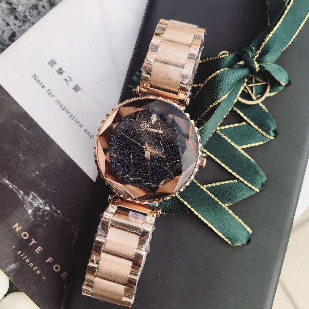 ساعة يد نسائية من الفولاذ المقاوم للصدأ ، مقاومة للرياح الباردة ، كراميل ، سوار كوارتز ، كريستال برق ، ذات أوجه