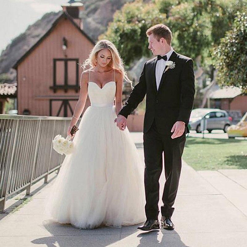 Простые недорогие пляжные свадебные платья в стиле бохо, летние свадебные платья из тюля на тонких бретельках, suknia slubna, 2019