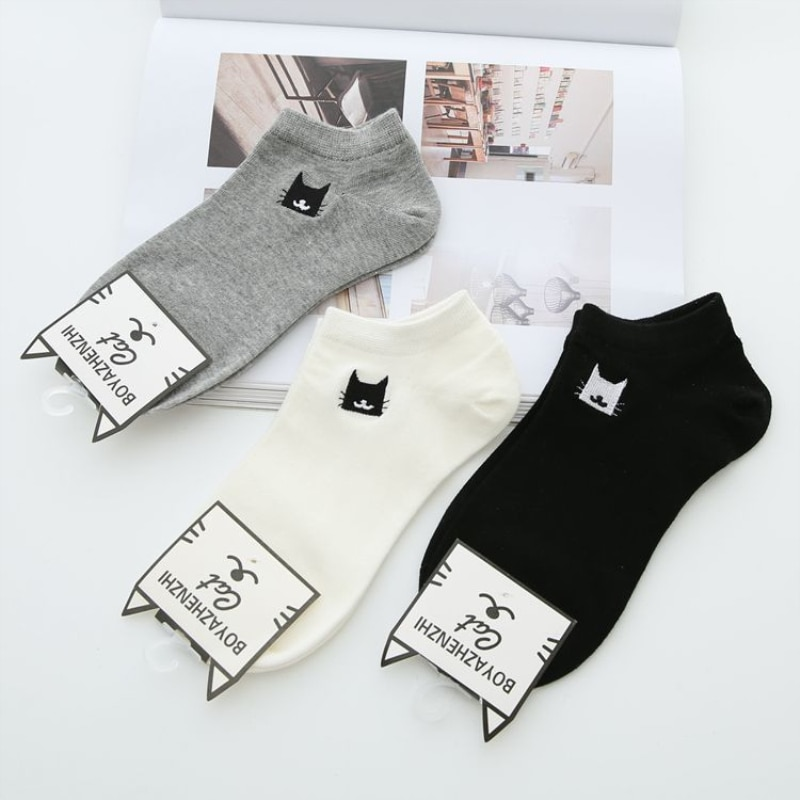 New Summer Women Socks 3 Pair White Cotton Cute Cats Fashion Short Ankle breathable