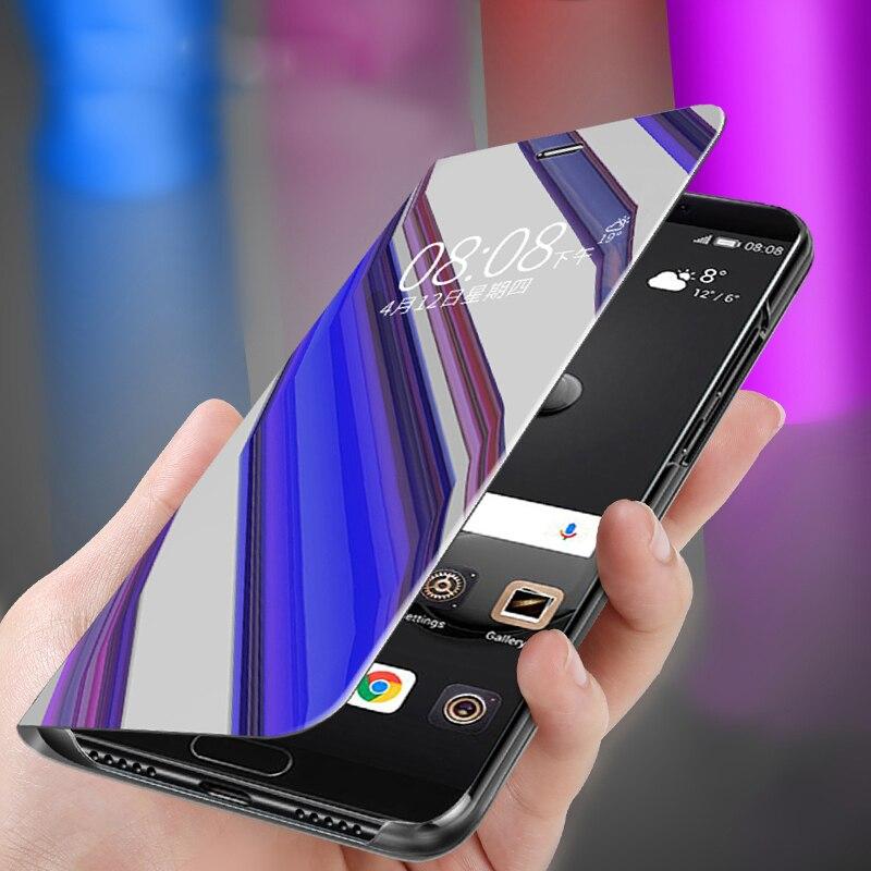 Inteligente de la cubierta completa para Samsung Galaxy A51 S20 Ultra S10 más A50 A7 2018 Nota 10 9 S8 S9 J4 J6 más J8 A01 Flip caja del teléfono espejo