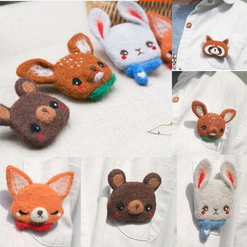 Brosche pin deer Puppe Wollfilz Handwerk DIY Nicht Fertig Stieß Gesetzt Handwerk Kit für Nadel Material Tasche Pack Shiba inu Set tiere