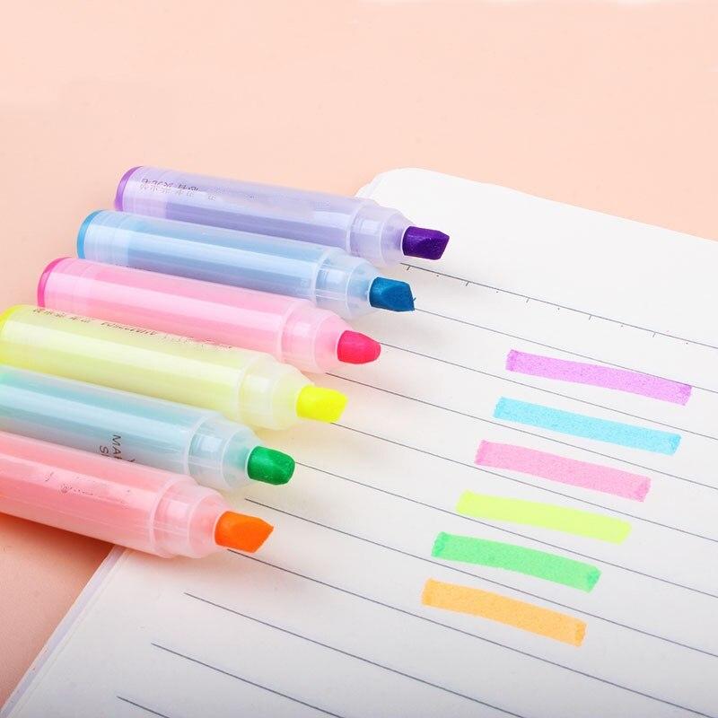 6 unids/set rotulador creativo de dibujos animados lindo conejo Mini 6 palos bolígrafo fluorescente escritura escuela Oficina suministros