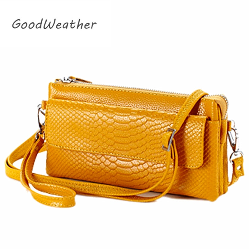 Promotion small yellow clutch with strap high quality split leather bags designer crocodile print shoulder bag female clutches