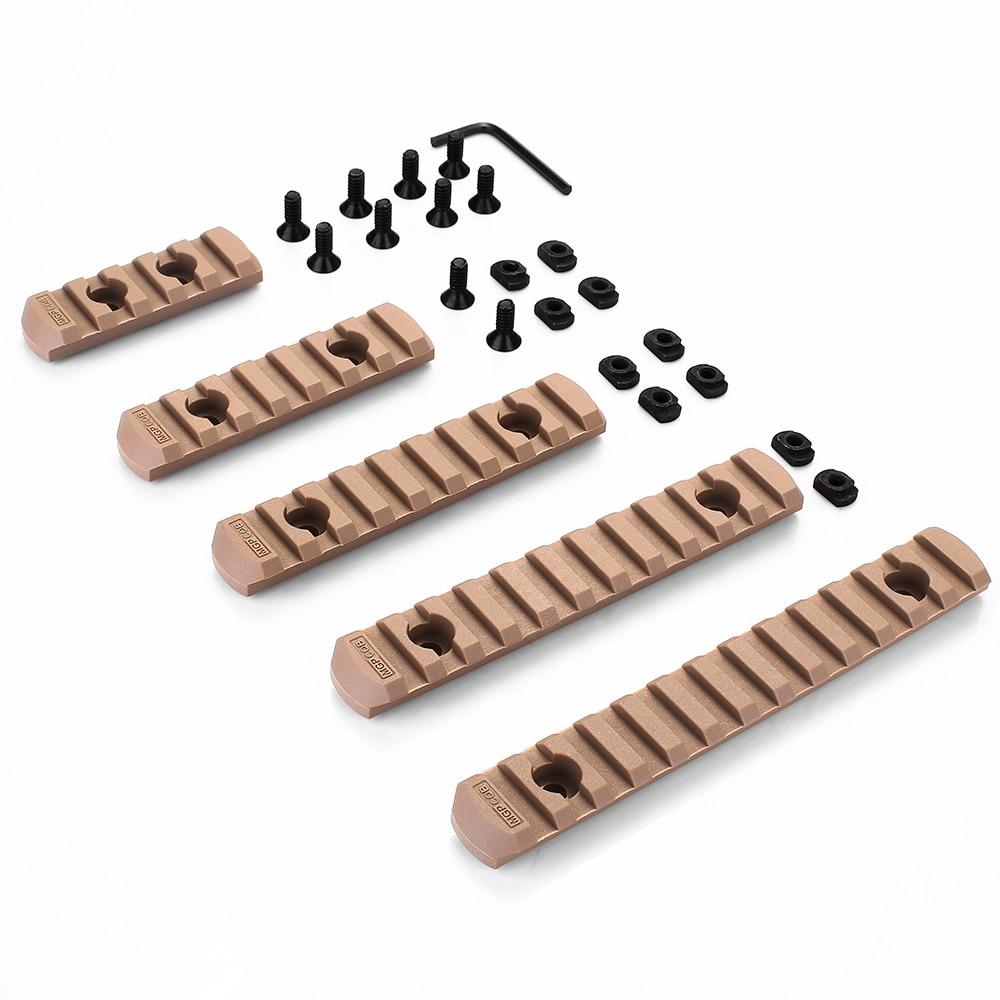 Pacote de 4 peças tactical airsoft polímero picatinny ferroviário para moe m lok M-LOK handguard compatível com fashlight laser escopo