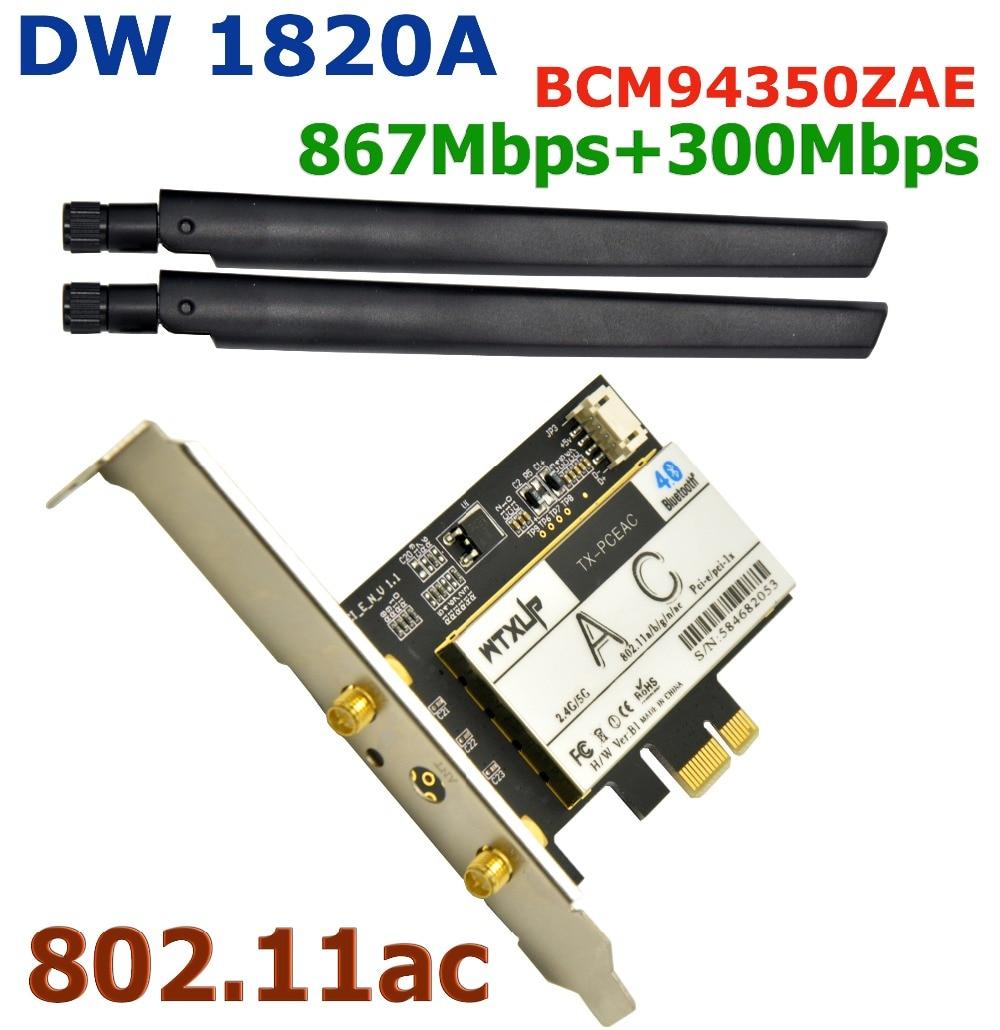 WTXUP для Broadcom BCM94350ZAE DW 1820A 867 Мбит/с 802.11ac PCI Express Настольный WiFi адаптер беспроводной PCI-e WLAN карта Bluetooth 4,1