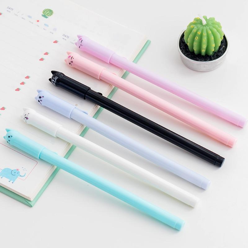Jonvon SATONE 3 uds gato bolígrafo de gel de papelería pluma bonita uso didáctico 0,5 aguja negro pluma bolígrafo para la escuela y la Oficina al por mayor