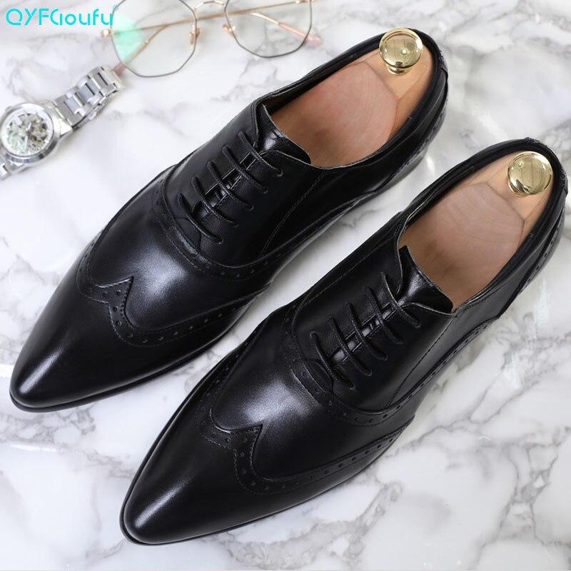 QYFCIOUFU zapatos formales de hombre de cuero genuino de lujo de marca de punta estrecha Zapatos de vestir de moda de oficina italiano con cordones zapatos Brogue