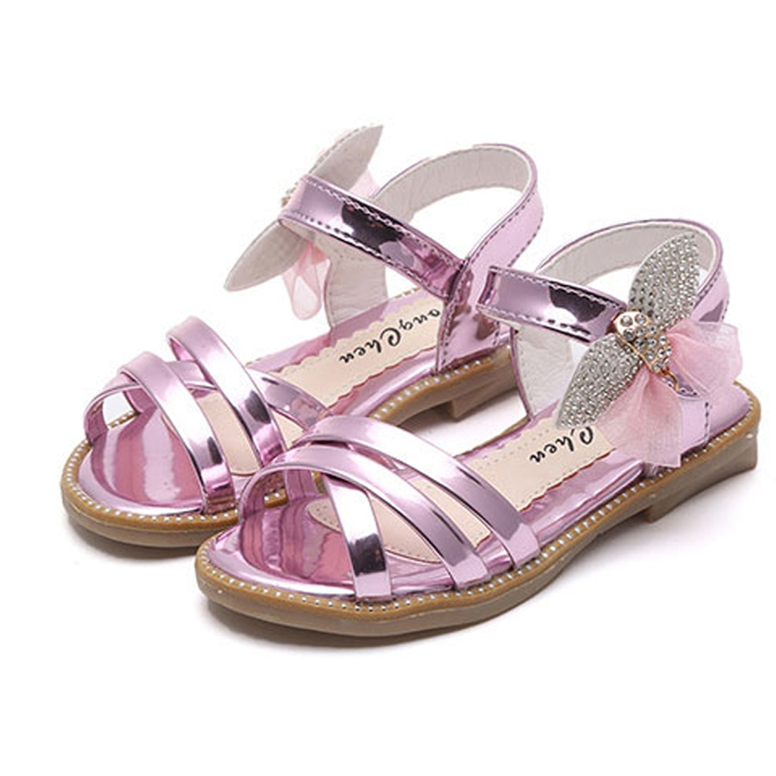 New Crystal Sandals Girls Shiny Summer Shoes Children Beach Sandals For Girls Princess Shoes Kids We