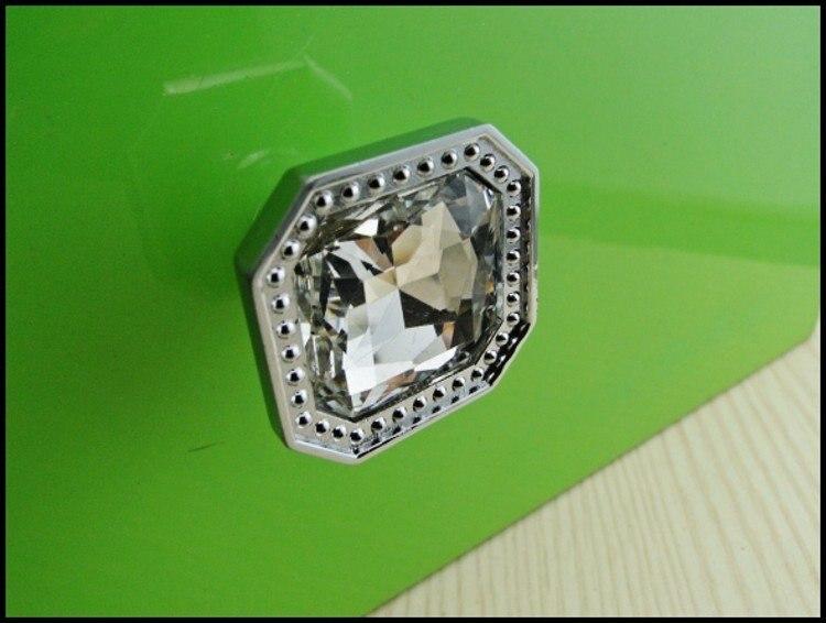 10 قطع الأزياء الماس الزجاج الحديثة كروم درج مقابض سحب مقبض جديد (القطر: 32 ملليمتر)