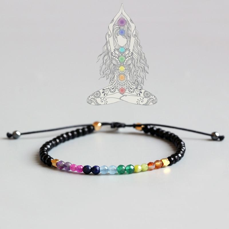 Женский браслет для йоги Eastisan, тонкий браслет из натурального кристалла с 7 чакрами и лечебным балансом, 3 мм