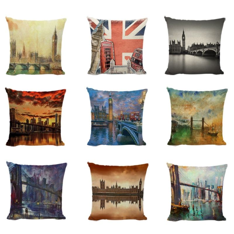 Popular London Big Ben Cushion Cover Red Bus Telephone Booth Pillowcases Print Home Decor The View Of The City Gifts Pillow Case