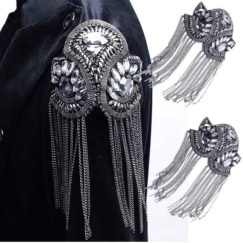 1pair Blazer Shoulder Beaded Tassel Chain Suit Epaulet Punk Fringe Tassel Rhinestones Shoulder Badge