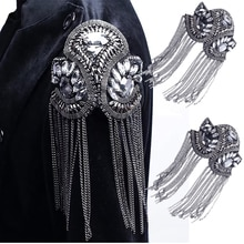 1pair Blazer Shoulder Beaded Tassel Chain Suit Epaulet Punk Fringe Tassel Rhinestones Shoulder Badge