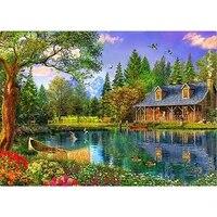 Kits de peinture de diamant 5D en point de croix  mosaique de paysages de jardin de lodge  broderie de diamants  decoration de maison  bricolage