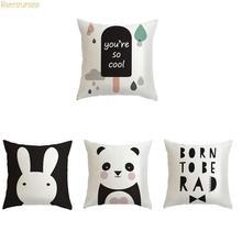 Coussin mignon noir et blanc lapin dessin animé   Ballon dessin animé Panda Animal oreiller, Alphabet Simple anglais pour maison enfants chambre à coucher, décor