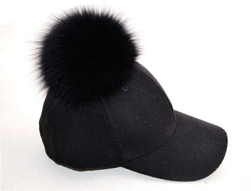 Gorra de béisbol de lana con pompón de piel de zorro a la moda gorra de color sólido gorra cálida ajustable