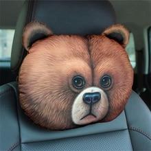 Creative Lovely 3D Cat  Rabbit Panda Printed Animals Face Car Headrest Car Seat Rest Cushion Safety Headrest