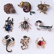 RINHOO mode à la main coloré chien serpent Animal cristal strass broche broche pour femmes hommes bijoux fantaisie cadeau de noël