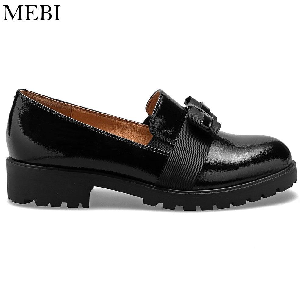 Zapatos planos MEBI de piel auténtica para mujer, zapatos informales de punta redonda, zapatos planos sin cordones con lazo para mujer, zapatos de charol para mujer