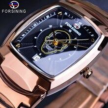 Forsining Cool Punk 3D crâne noir homme montre à Quartz Date fonction luxe bracelet en acier mâle Rectangle boîtier montres horloge Relogio
