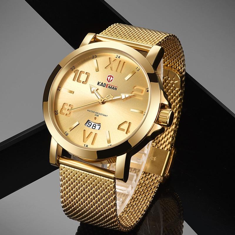 KADEMAN Casual Men Watches Classic Ultra Thin Quartz Watch Business Sport Stainless Steel Mesh Band 3ATM Wristwatch Relogio Gift
