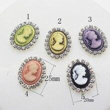 Boutons strass en résine 13*18mm 10 pièces/lot   Accessoires capillaires artificiels en cristal/décoration de mariage