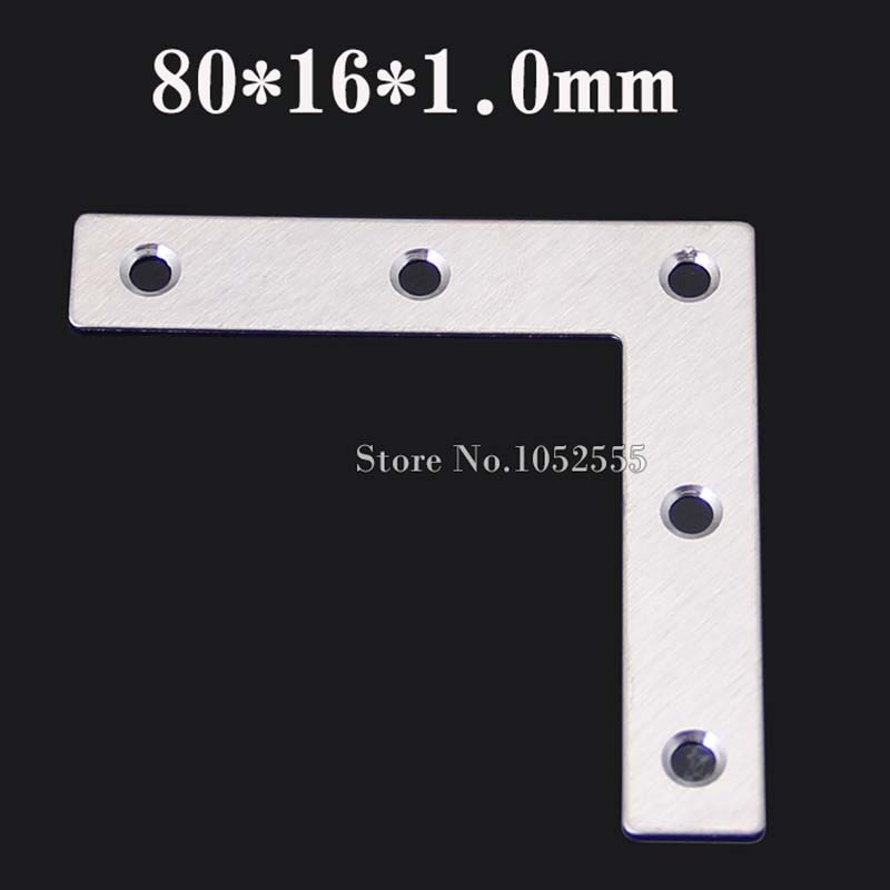 20pcs 80*16*1.0mm stainless steel angle Corner bracket L shape satin finish frame board shelf support + self-tapping screws K105