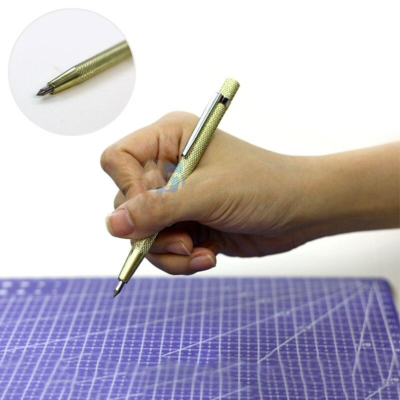 Modificación de detalle de la aguja de marcado completamente de metal, pluma de marcado de acero de tungsteno con 2 piedras de molienda