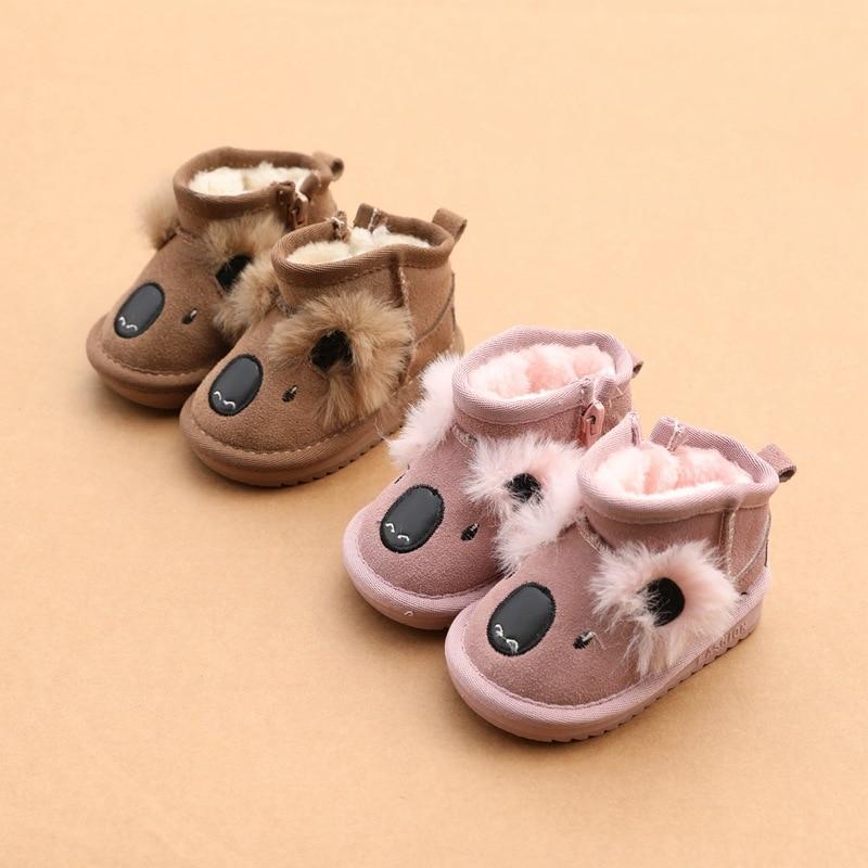 Precioso Koala, botas de nieve de piel auténtica con dibujos animados para niñas de 1 a 2 años, botas cálidas de algodón para niños, zapatos para bebés