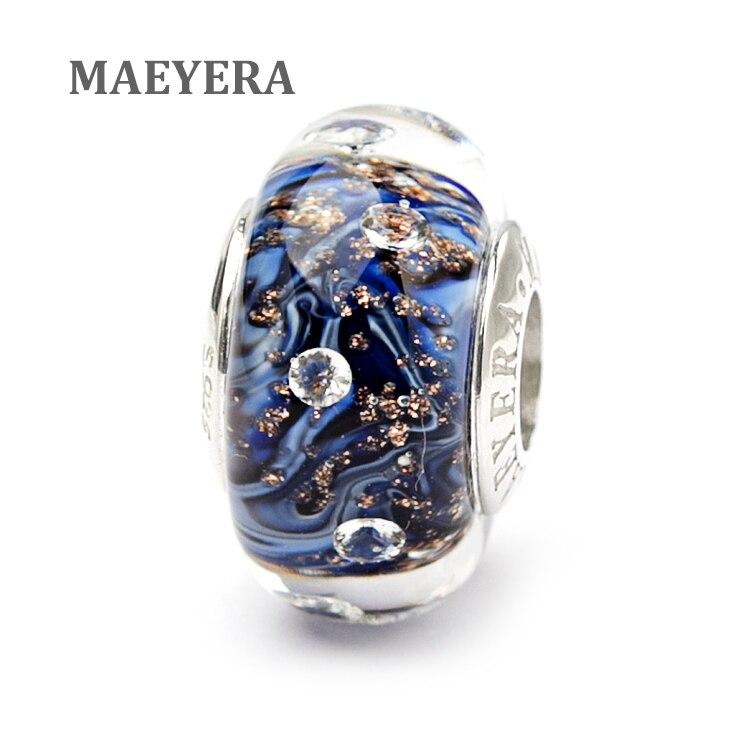 Maeyera jóias real s925 núcleo zircon azul meia-noite céu estrelado contas de vidro murano charme presente diy charme jóias 920355