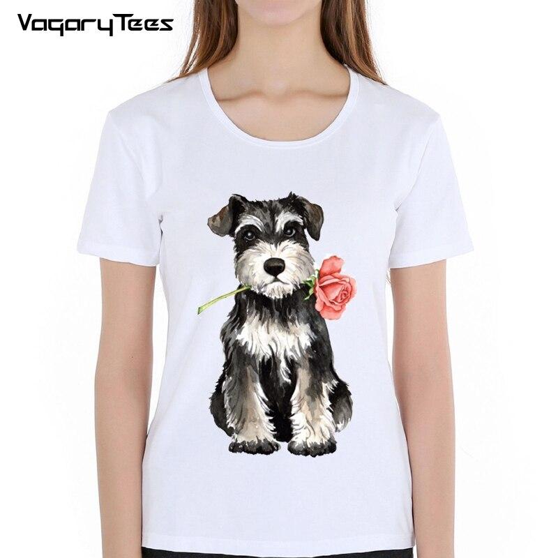 Valentine Rose maiden T-Shirt Summer Hipster women t-shirt funny Rose Mini Schnauzer&Puli design sweet Tops casual ladies Tee