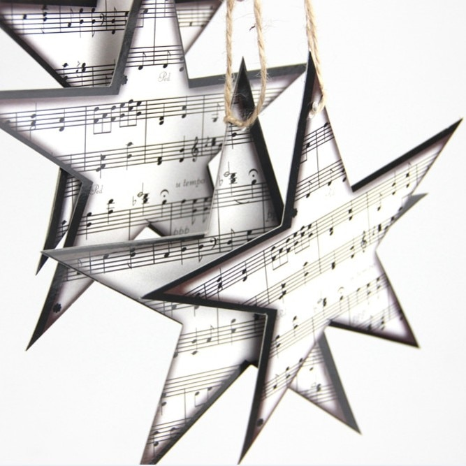 Paper Music Star Embellishments Star Garland Christmas Tree Ornaments Home Nursery Music Theme Decor